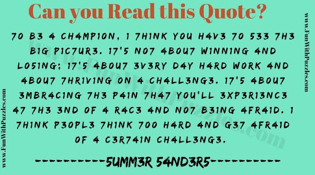 Read, Think and solve this reading challenge
