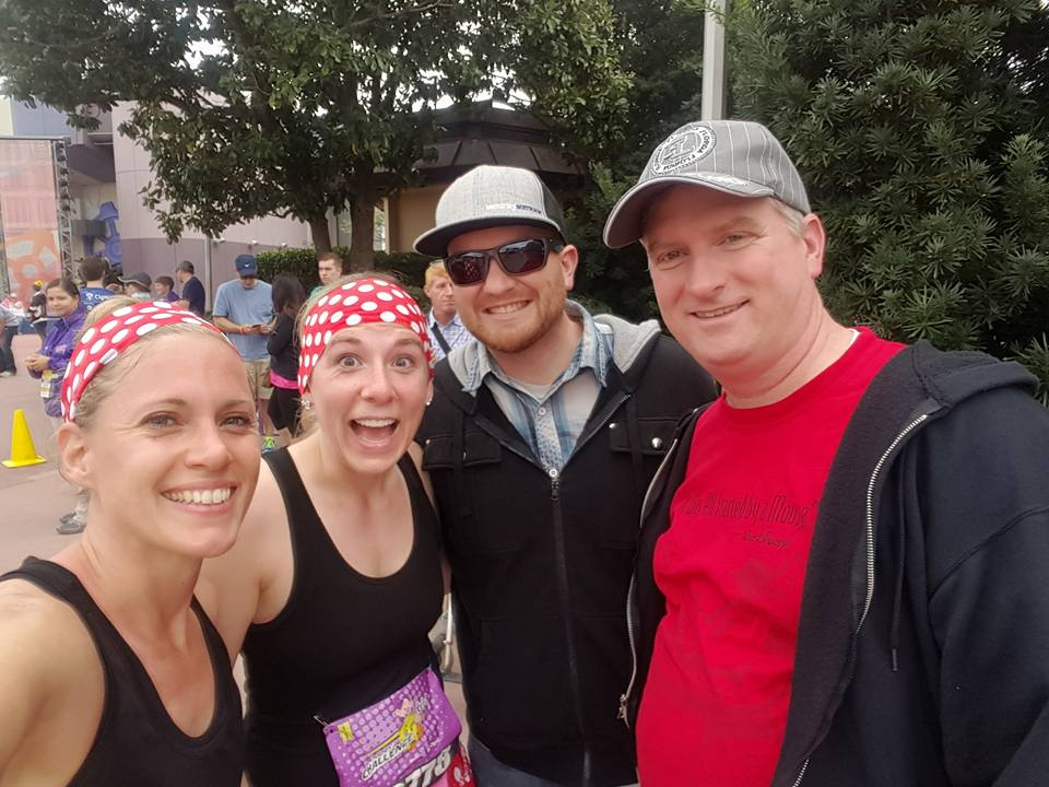 Dopey Challenge Mickey Marathon 2016 Waiting in Epcot for us finally glad to ALMOST be done with the race