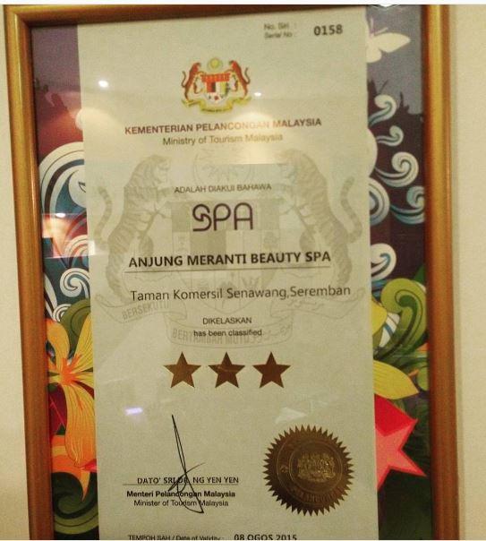 Perkhidmatan tiga bintang di Anjung Meranti Beauty Spa