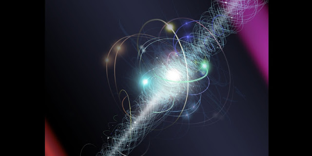 In this artist's representation, an electron travels between two lasers in an experiment. The electron spins on its axis as a cloud of subatomic particles are constantly emitted and reabsorbed. (Credit: Nicolle R. Fuller/National Science Foundation)