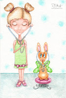 listen to your heart  girl and bunny watercolor illustration by tawnya boe art