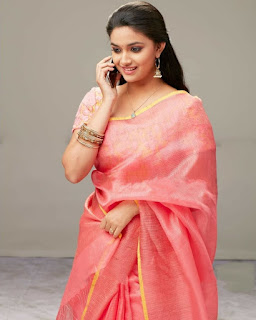 Keerthy Suresh in Rose Color Saree with Cute and Awesome Lovely Smile