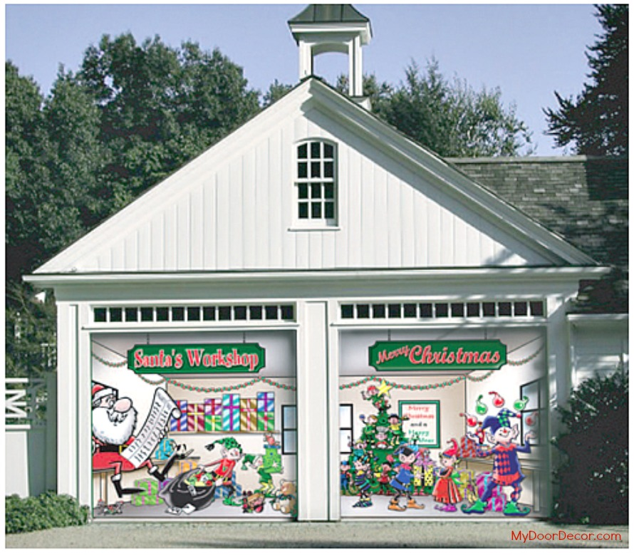 Garage door decor 100 things 2 do for Christmas garage door mural