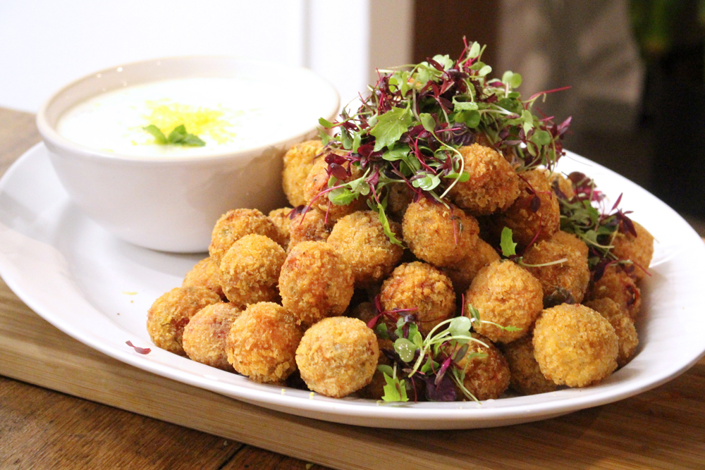 Beetroot and goat's cheese arancini at Bill's Restaurant Dinner - UK lifestyle blog
