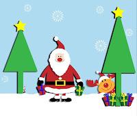 3D-Bild mit Santa Claus im Schnee