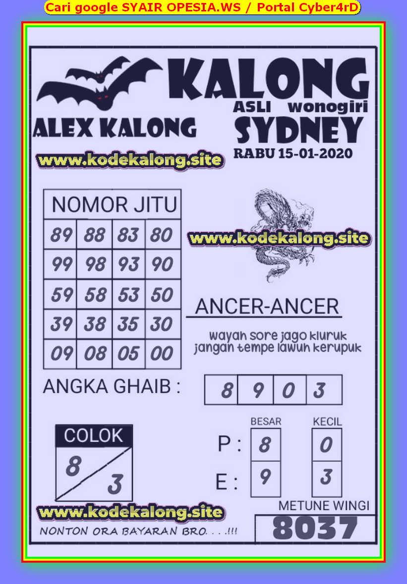 Kode syair Sydney Rabu 15 Januari 2020 73