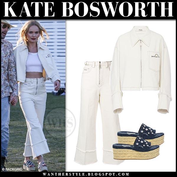 77f25bb3f282 Kate Bosworth in cream cropped denim miu miu jacket and matching miu miu  cropped cream jeans