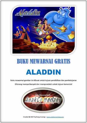 buku mewarnai pdf gratis kartun Aladdin