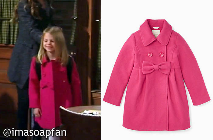 Charlotte Cassadine, Scarlett Fernandez, Pink Coat with Bow, Kate Spade, GH, General Hospital