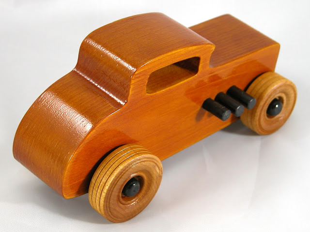 Top Right Rear - Wood Toy Cars - Wooden Cars - Wood Toys - Wooden Car - Wood Toy Car - Hot Rod - 1932 Ford - 32 Deuce Coupe - Little Deuce Coupe - Roadster - Race Car