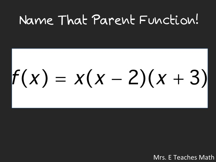 Name That Parent Function!  An quick activity to help students recognize parent functions - download powerpoint   mrseteachesmath.blogspot.com