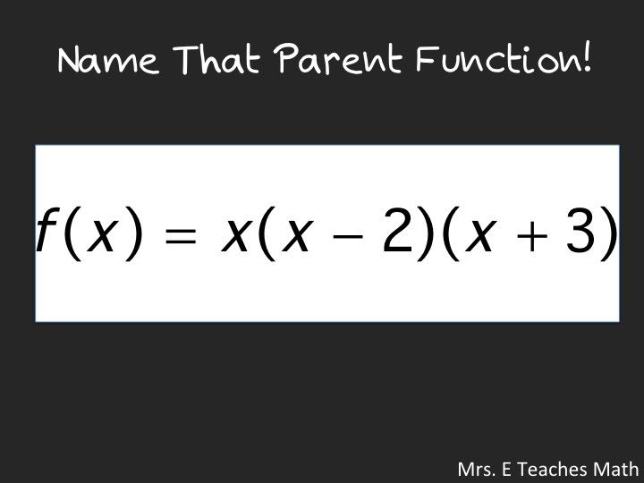 Name That Parent Function!  An quick activity to help students recognize parent functions - download powerpoint   mrseteachesmath.blogspot.com