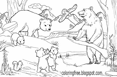 American wildlife cartoon Canadian wild animals cute Grizzly bear family coloring pages older kids