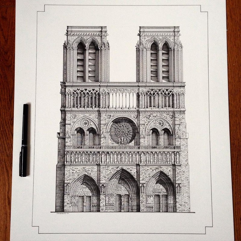 06-Notre-Dame-Gothic-Building-M-Gruneberg-Architecture-Ink-and-Pencil-Drawings-www-designstack-co