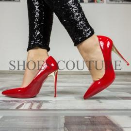 Pantofi Stiletto rosii de lac