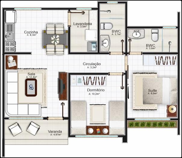 planta de casa popular com suite