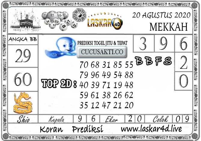 Prediksi Togel MEKKAH LASKAR4D 20 AGUSTUS 2020