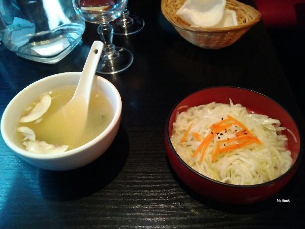 soupe champignons et salade de  choux