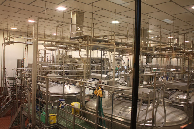 Enormous cheese vats in the Tillamook Creamery where cheese curds are being made.