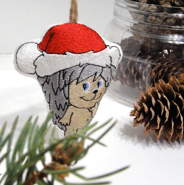 Елочная игрушка Ежик в колпачке Санта Клауса - ручная работа, доставка почтой или курьером
