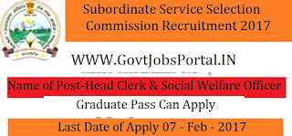 Subordinate Service Selection Board Recruitment 2017– 127 Head Clerk & Social Welfare Officer