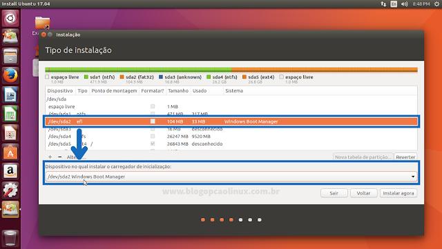Caso seu computador tenha UEFI, será necessário alterar a partição onde instalar o GRUB