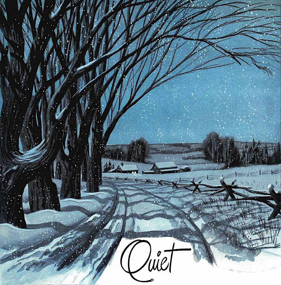 a 1945 illustration of Quiet, a winter scene at night