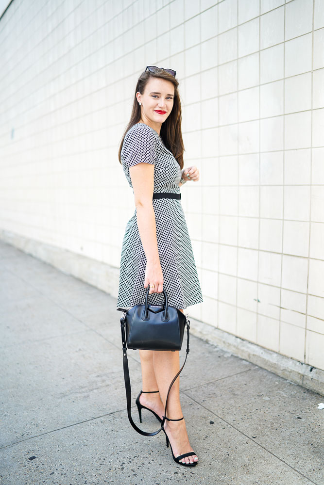 Dresses for Work, What to Wear to Work, Fit and Flare Dresses, Black and White Dresses, Short Sleeve Dresses, House Of Harlow Sunglasses, David Yurman Jewelry