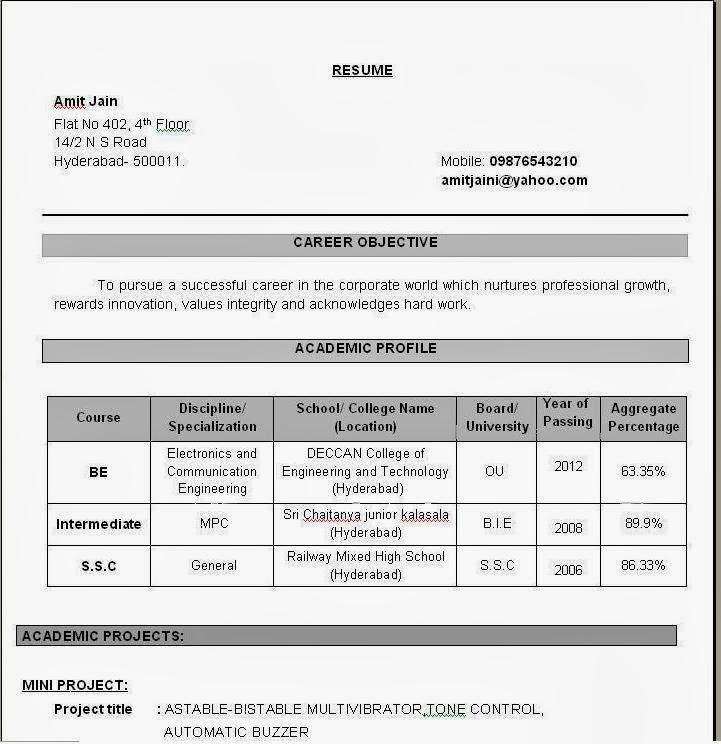 Resume Sampls Example Resume Student Template Example Resume  Mechanicalresumes Com Sample Resume Sle Resume Format For  Engineering Resume Format