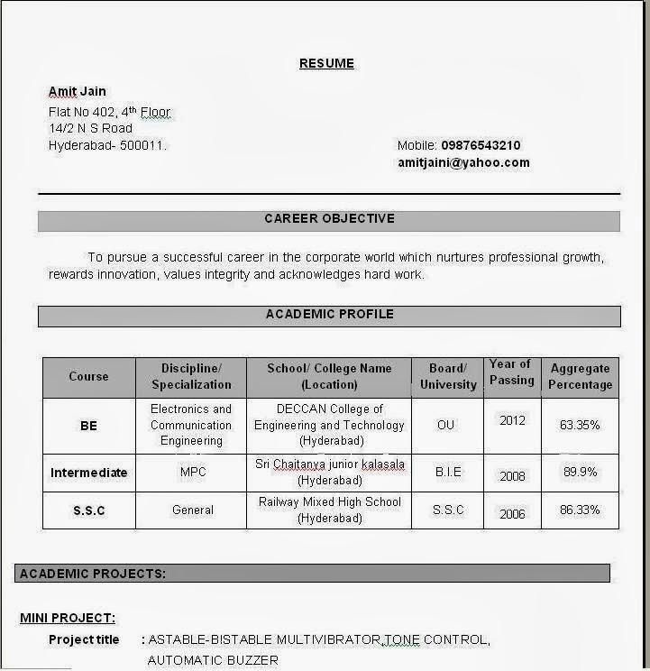 Sample resume computer engineer fresher