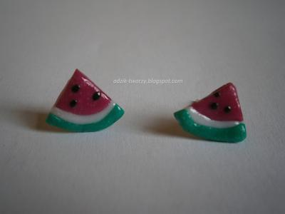 kolczyki-sztyfty arbuzy z modeliny