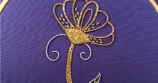 MooshieStitch Monday: Goldwork Daisy Part 3