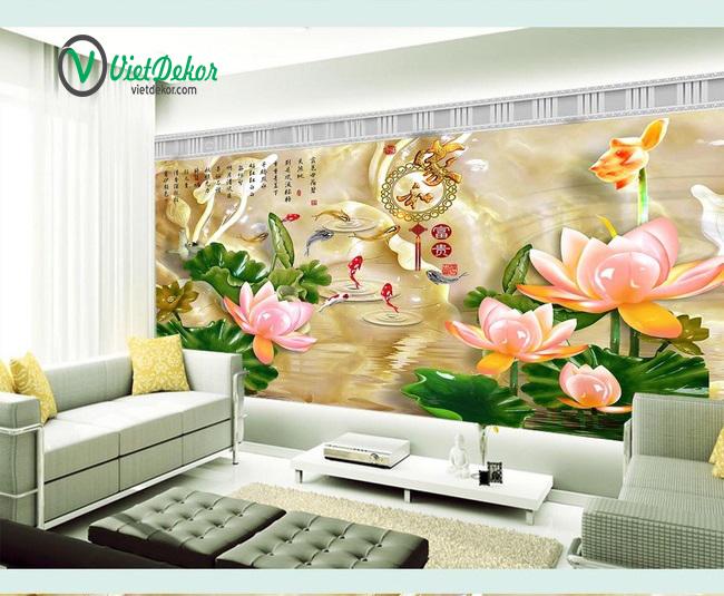 Tranh 3d dán tường hoa sen ngọc bích