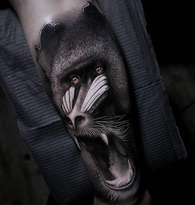 Vemos un tatuaje en blanco y negro de mandril