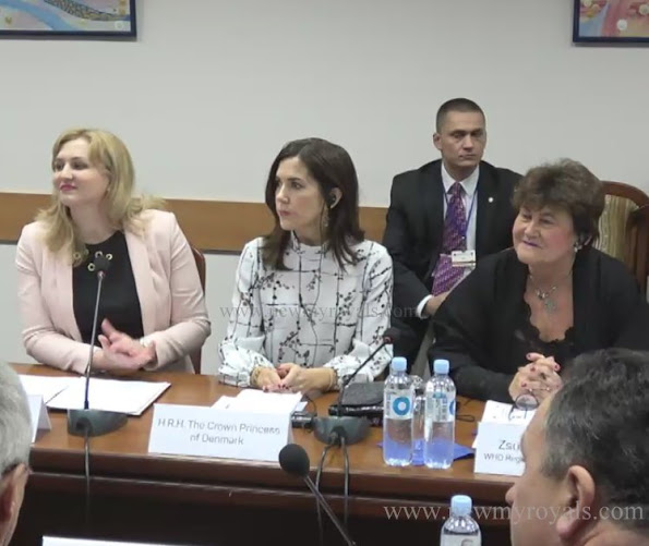 Crown Princess Mary together with Moldovian Minister of Health, Ruxanda Glavan visited Public Health Institute in Moldova. Crown Princess Mary wore Sirup Stine Goya Blouse