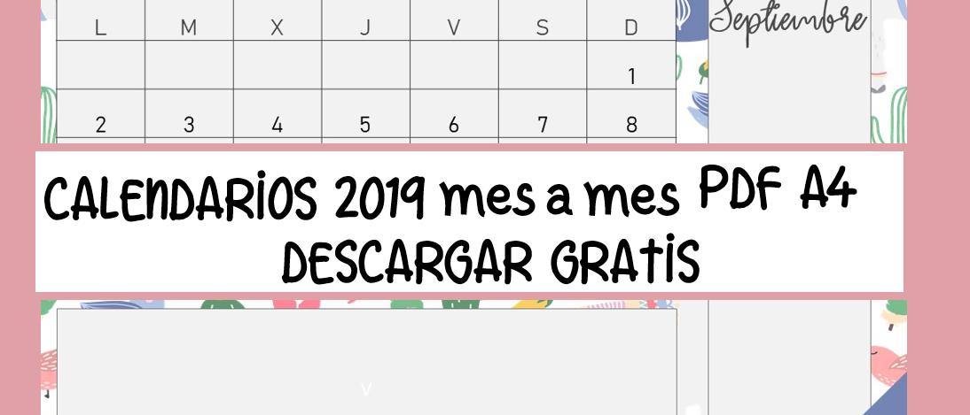 CALENDARIOS 2019 PARA DESCARGAR GRATIS