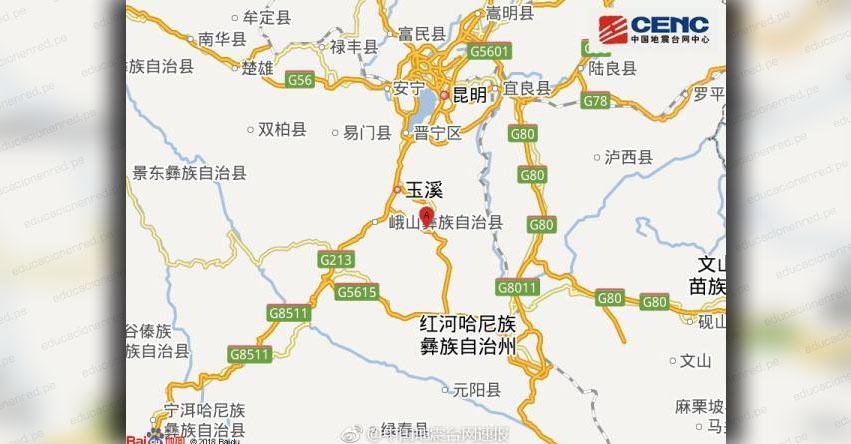 TERREMOTO EN CHINA de Magnitud 5.0 - Alerta de Tsunami (Hoy Lunes 13 Agosto 2018) Sismo Temblor EPICENTRO - Yunnan - Tonghai - Yuxi - USGS