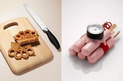 Armas inofensivas hechas con comida.