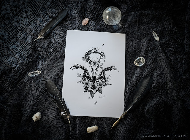 Aker Dantzaria Ink Design Crow Skull Pagan Triple Goddess Hekate Morrigan by Victoria Francés