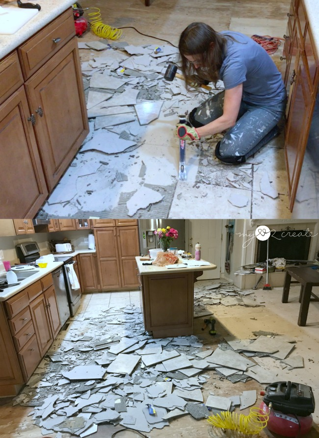 removing tile from the kitchen floor
