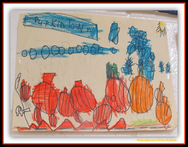 """Pumpkin Town"" Drawing in Kindergarten via RainbowsWithinReach"