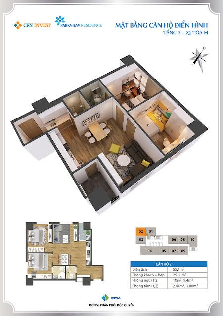 Thiết kế căn hộ 02 chung cư Park View Residence
