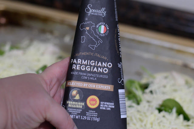 A block of fresh Parmesan cheese.