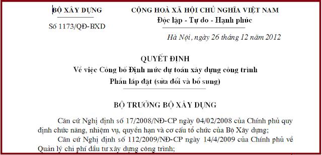 Quyết định số 1173/QĐ-BXD năm 2012 về sửa đổi, bổ sung định mức 1777.