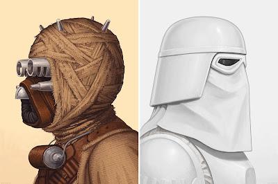 Star Wars Tusken Raider & Snowtrooper Portrait Prints by Mike Mitchell x Mondo
