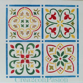 Stencil-azulejo-hidráulico-perchero-handmade-Crea2-Con-Pasión-tercer-azulejo-verde