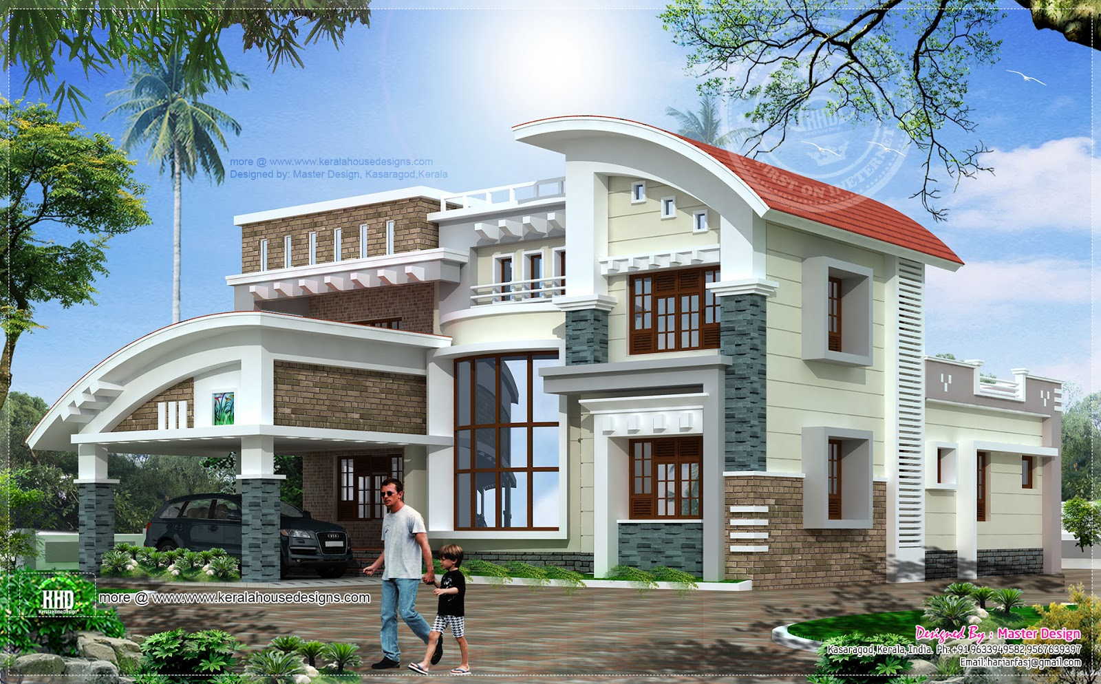 Modern luxury house in 3073 home kerala plans - Luxery home plans gallery ...