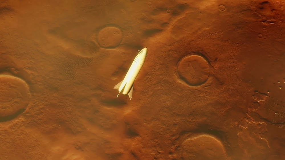 SpaceX Big Falcon Ship above Mars by HazeGrayArt