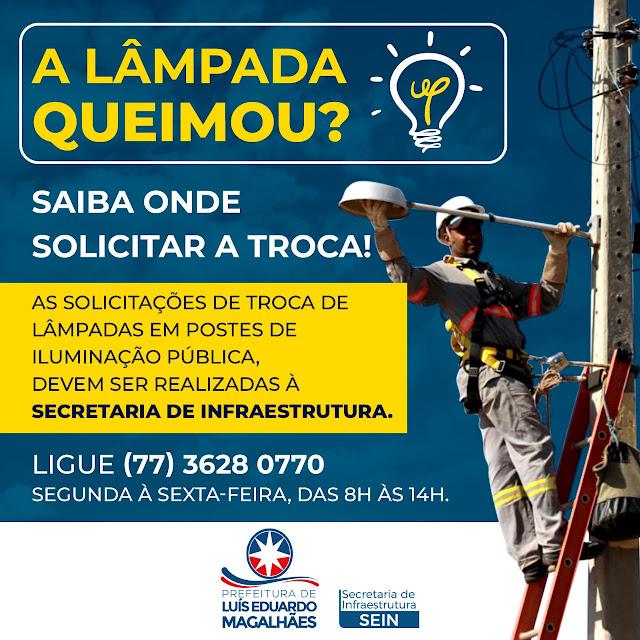 Prefeitura de Luis Eduardo Magalhães segue com serviços de manutenção e troca de lâmpadas