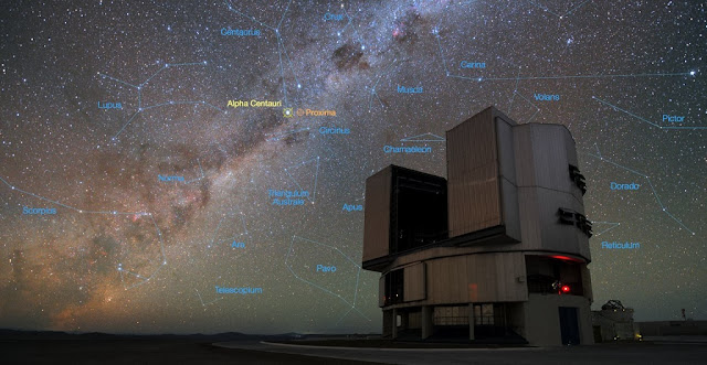 The foreground of this image shows ESO's Very Large Telescope (VLT) at the Paranal Observatory in Chile. The rich stellar backdrop to the picture includes the bright star Alpha Centauri, the closest stellar system to Earth. In late 2016 ESO signed an agreement with the Breakthrough Initiatives to adapt the VLT instrumentation to conduct a search for planets in the Alpha Centauri system. Such planets could be the targets for an eventual launch of miniature space probes by the Breakthrough Starshot Initiative.  Credit: Y. Beletsky (LCO)/ESO